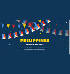 Flags bunting philippines on night background vector