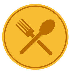 Fork and spoon coin vector