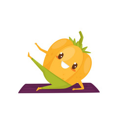 Funny pepper working out on an exercise mat vector