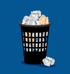 Garbage bin and crumpled paper vector