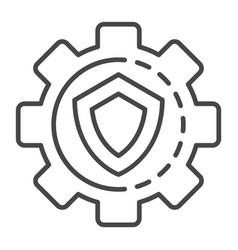 gear wheel secured icon outline style vector image