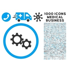 Gears Icon with 1000 Medical Business Pictograms vector image