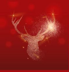 gold glitter deer head christmas vector image