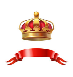 Golden red crown realistic 3d vector