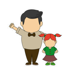 grandfather and girl holding hands together fun vector image