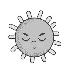 Grayscale kawaii angry sun icon vector