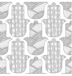 hamsa hand black and white seamless pattern for vector image