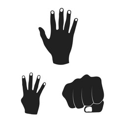 Hand gesture black icons in set collection for vector