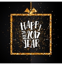 Happy new year 2017 golden card vector image