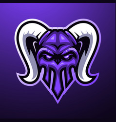 horn skull mascot logo vector image