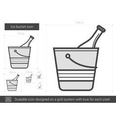 Ice bucket line icon vector image