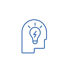 idea in head line icon concept idea in head flat vector image