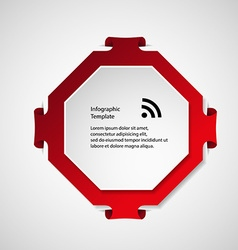 Infographic template with red octagon shape vector