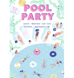 Invitation template for summer pool party with vector