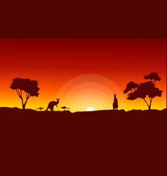 Kangaroo with red sky landscape silhouette vector