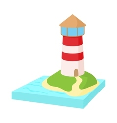 Lighthouse icon in cartoon style vector image