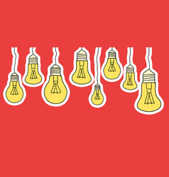 Linear of cartoon hanging light bulbs vector