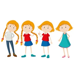Little girls with long and short hair vector