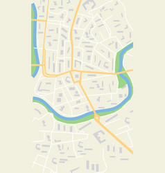 map city graphic plan town with streets river vector image