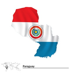 Map of Paraguay with flag vector image