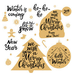 Merry christmas new year 2019 let it snow vector