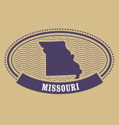 Missouri map silhouette - oval stamp of state vector image