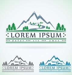 Mountains vintage logo design template green vector