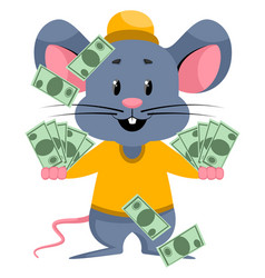 Mouse with bags money on white background vector