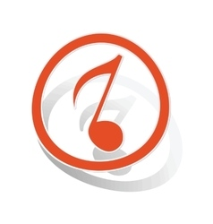 Music sign sticker 3 orange vector image
