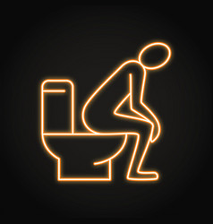 neon diarrhea concept icon in line style vector image