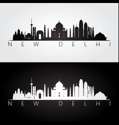 new delhi skyline and landmarks silhouette vector image