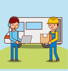 operator man cartoon with laptop and worker vector image