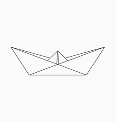 Origami boat geometric line shape for art of vector