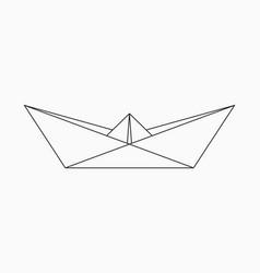 Origami boat geometric line shape for art vector