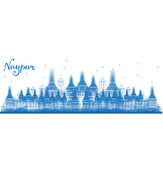 Outline nagpur india skyline with blue buildings vector