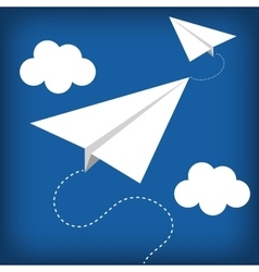Paper plane flying toy vector