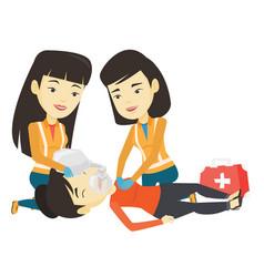 Paramedics doing cardiopulmonary resuscitation vector