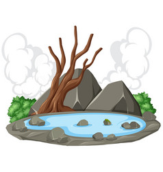 Pond rock nature scene vector