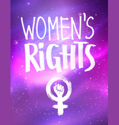 poster with womens rights lettering vector image