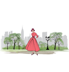 Retro fashion dressed woman 1950s 1960s style vector
