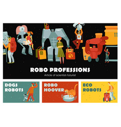 Robots horizontal banners vector