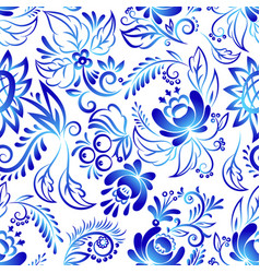 Russian ornaments art style gzhel blue flower vector