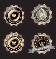 set of golden-silver premium quality badge vector image