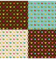 set of patterns with hearts vector image