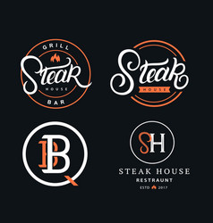 set steak house logos vector image
