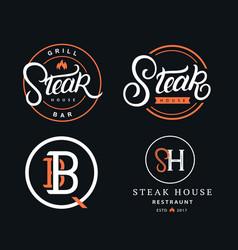 set steak house logos vector image