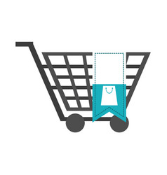 shopping cart with blank tag vector image