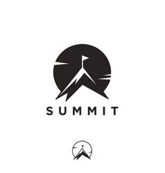simple summit and sun logo mountain peak logo vector image