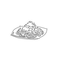 single continuous line drawing tasty delicious vector image
