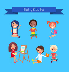 Sitting kids set on light blue vector
